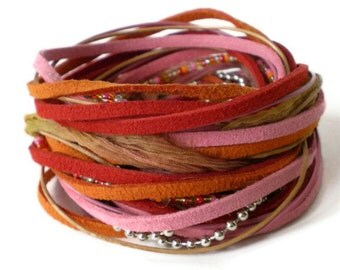 bohemian wrap bracelet, leather wrap, red pink orange suede wrap, rockchick cuff, triple wrap bracelet, endless bracelet, gift for her
