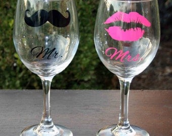 Personalized Mustache and Kiss Lips Wine Glasses, Bride and Groom Gifts