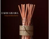 25 Orange and White Chevron Pattern Paper Straws - Standard 7.75'' / 19.68cm