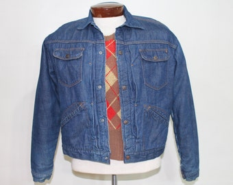 Vintage 50s Denim Jacket Blanket LinedWork Chore Coat Sanforized CARWOOD Bar C 1950s Rockabilly Medium M Blue