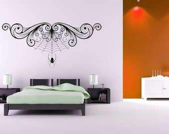 Spider Decal, Spiderweb, Spider Web, Swirl Decal, Halloween Decorations, Gothic Decor, Goth Decal, Sticker, Vinyl, Wall Art, Home, Bedroom