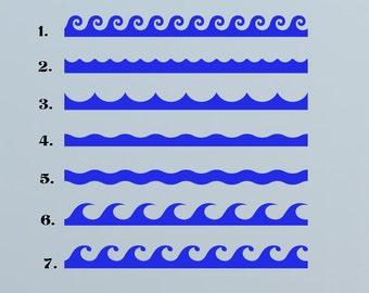 Ocean Waves, Border, Sea, Navy, Naval  - Decal, Sticker, Vinyl, Wall, Bathroom, Pool, Coastal Decor