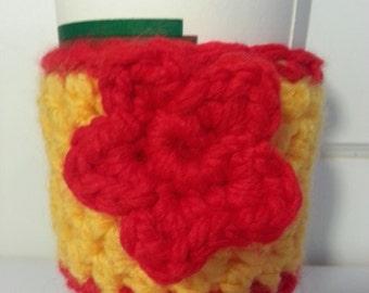 Crocheted Flower Coffee Cozy