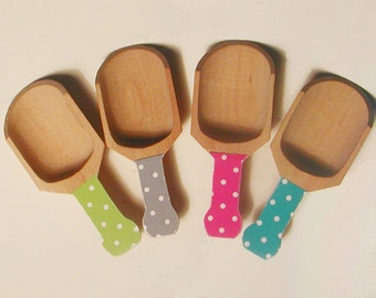 Polka Dot Wooden Scoops - choose from 72 colors - Set of 4
