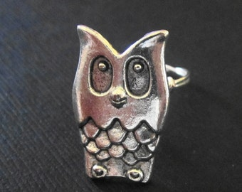 Owl Pewter Button Ring
