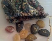 Etched River Stone Elder Futhark Runes