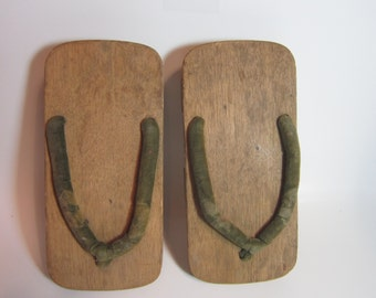 Vintage 60s Geta Japanese Traditional Wooden Geisha Sandal Hand Made