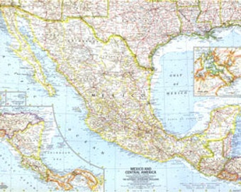 Vintage Map1961 Mexico and Central America 25 x 19