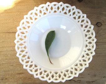 Vintage White Bowl Milk Glass Centerpiece Lace Lattice Wedding Decor Gift