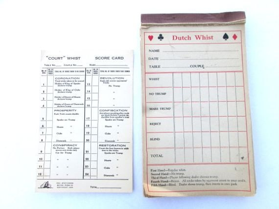 Vintage Game Score Card Dutch Whist Paper Ephemera  Bridge