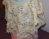 Bead and Sequin Shawl Caplet Blouse
