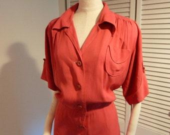 1940's ROSIE the RIVETER button-up CORAL work wear gabardine dress