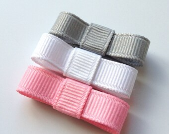 Baby Hair Clip- Snap Clip- Grey, White, Pink - Non Slip Grip -Girls, Babies, Toddlers