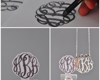 3 initials Monogram Necklace-Initial Necklace-Silver monogram necklace-handwriting jewelry