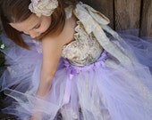 Innocence of Beauty- lavender, ivory flower girl  tutu dress with a ivory  lace and handmade flowers