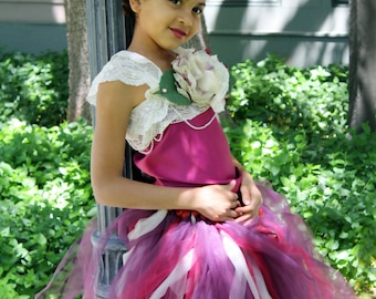 "Plum Tutu dress ""I am going to PARIS"" Handmade beautiful vintage,satin top and lace dress for flower girls,weddings, photoprop and portraits"