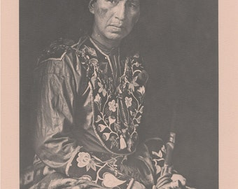 Vintage 1890 - 1910 Chippewa Portraits Native American Indian Print Plate E