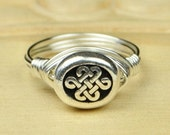 Celtic Eternity Ring- Sterling Silver Filled Wire Wrapped Ring Irish Bead - Any Size - Size 4, 5, 6, 7, 8, 9, 10, 11, 12, 13, 14