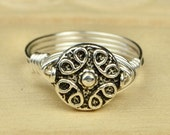 Sale! Sterling Silver Filled Ring - Wire Wrapped with Metal Ornate Circle Bead - Any Size- Size 4, 5, 6, 7, 8, 9, 10, 11, 12, 13, 14