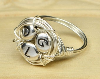 Family Nest Initials Personalized Ring- Sterling Silver Filled Wire Wrapped Ring- Any Size- Size 4, 5, 6, 7, 8, 9, 10, 11, 12, 13, 14