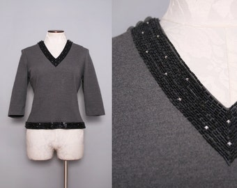 Beaded Rhinestone Trim Top Charcoal Grey 1950s Size Medium Large