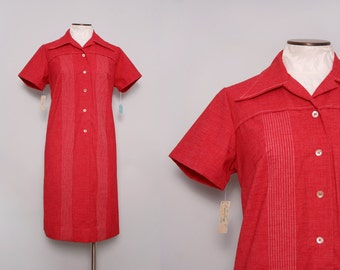 1960s Deadstock Shirtwaist Dress. Red Dress. Collared Shirt Dress. 60s Shift Dress. Retro Dress. Knee Length Short Sleeve Day Dress. Large.