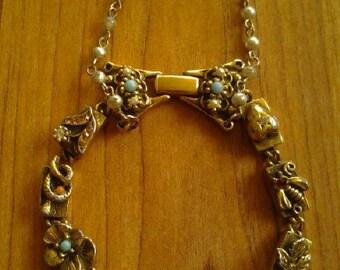 Intricate victorian revival vintage charm slider bracelet