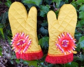 Hot Summer Sunshine Oven Mitt Set,  Insulated Hot Pad