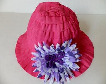 Toddler Summer Sun Hat, Butterfly Garden Beach Hat, Pink and Purple, Girl's Hat