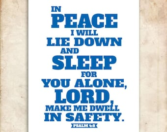 In Peace We Sleep. Psalm 4:8. 8x10in  DIY Printable Christian Poster. PDF. Bible Verse.