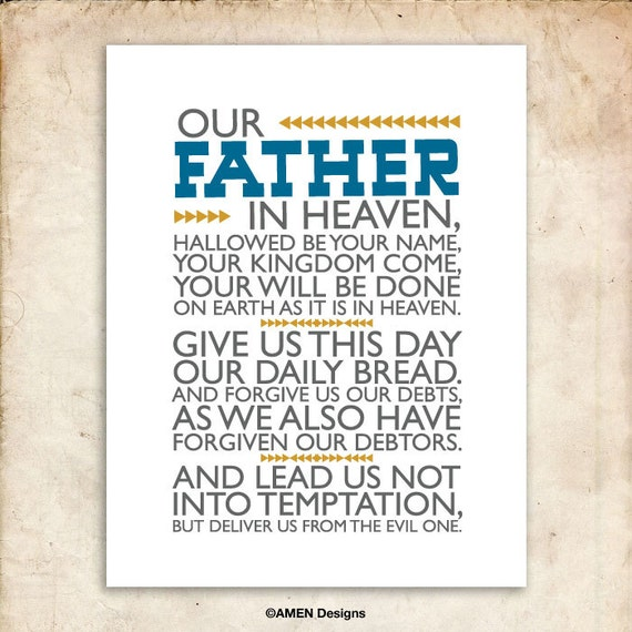 The Lord's Prayer. Matthew 6:9-13. DIY. PDF. 8x10 Printable Scripture Poster. Bible Verse.
