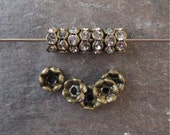 6mm Wavy Rhinestone Rondelle Beads Brass OX Clear Czech Glass (12)