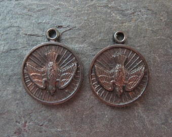 Brass Round Religious Dove Charms Medals Hand Oxidized 13x15mm Stampings (2)