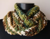 Crochet  Scarf Cowl Snood Beige Green Brown Handmade