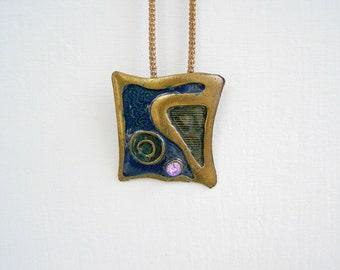 Boho Blue Enamel pendant Necklace, Vintage Bronze square abstract pendant necklace, Chunky Necklace, Spring