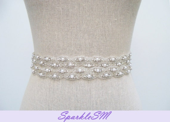 Rhinestone Bridal Sash, Rhinestone and Crystal Wedding Belt, Rhinestone Pearls Satin Sash, Jeweled Beaded Sash, Bridal Accessories, Hayden