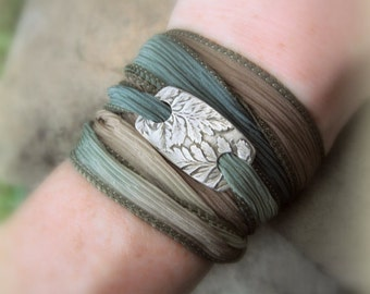 Fern Bracelet- Silk Ribbon Wrap Bracelet - Silver Leaf - Made From Real Leaves - Silvan Leaves - Artisan Handcrafted Recycled Fine Silver