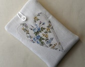 Stock Clearance. Handmade Phone case. Thick Denim with appliqued heart.