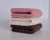 Organic Cotton Crocheted Washcloths Set of Three Neopolitan Colors Soft Gentle