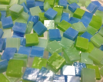 """100 1/4"""" AQUA MINT & LIME Green Stained Glass Mosaic Tiny Tiles T11"""