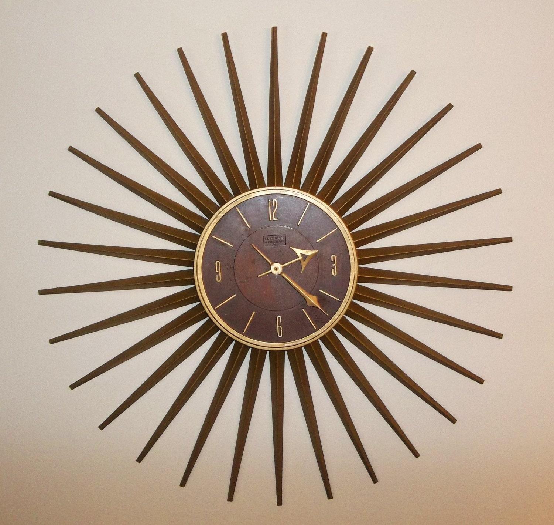 Spartus Wall Clock Vintage Starburst Sunburst Atomic Mid