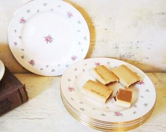 Vintage Rambler Rose Plates Serving Dinnerware Floral Plates Tea plates party housewares Dinnerware Set