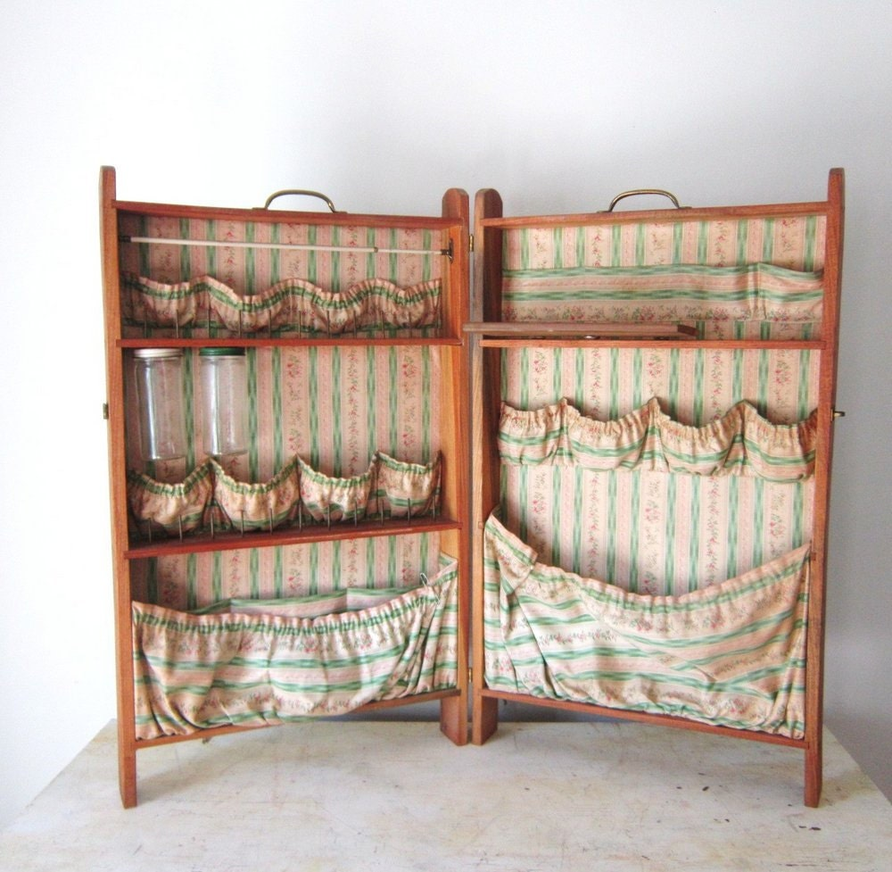 Vintage Wooden Sewing Craft Folding Box Cabinet Cupboard Chest