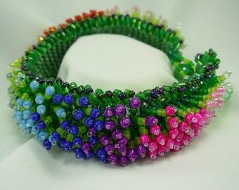 SPECTACULAR Bright, Summer Flower Garden Woven Seed Bead Bracelet, Monet's Garden, Vivid, colorful, detailed, gift for her,
