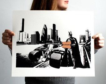 Batman 'Tumbler Down' Hand Pulled Limited Edition Screen Print