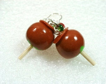Toffee Candy Apple Earrings. Polymer Clay.