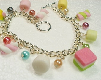 Marshmallows Charm Bracelet.  Polymer clay.