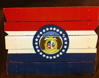 Missouri Flag State On Pallet Wood Rustic Handpainted