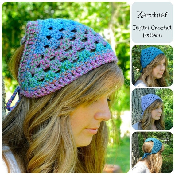 Crochet Hair Kerchief Pattern : Crochet Pattern, Kerchief Pattern, Bandana Pattern, Head Scarf Pattern
