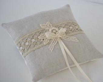 Rustic natural linen ring bearer pillow ivory lace tan cotton muslin antique trim
